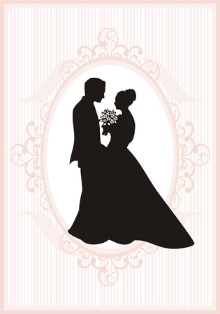 bride groom: Retro styled Wedding invitation card. Save the Date card. Illustration