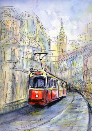 trams: Hand drawn watercolor  illustration of old tram in sketch style Stock Photo