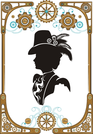 victorian people: Portrait of Beautiful steampunk girl   in frame