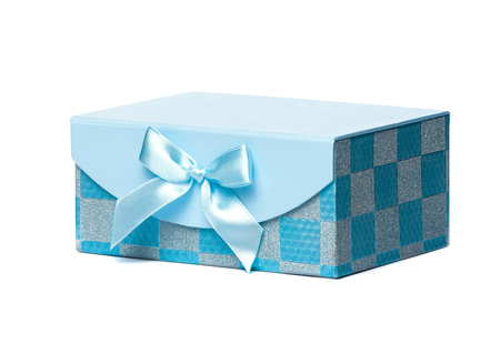 turquoise gift box with a decorative bow photo