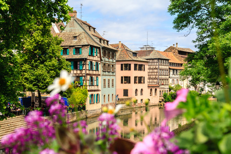 timbered: Strasbourg, water canal in Petite France area.