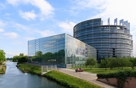 STRASBOURG, FRANCE - MAY 30: Building Louise Weiss of European Parliament on May 30, 2014 in Strasbourg, France. The building houses the Chamber of Parliament and Members offices.