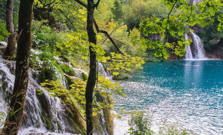 plitvice: Beautiful Waterfall Cascades at Plitvice lakes, Croatia