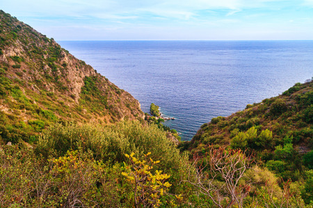 littoral: View of the famous Nietszche trail from the coastline to the Eze Village Stock Photo
