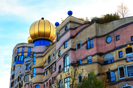 DARMSTADT, GERMANY - NOVEMBER 08: The view of Hundertwasser house in Darmstadt, Germany , in November 08, 2014.