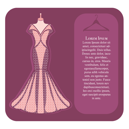 couturier: Pink dress on mannequin  Stock Vector Illustration: