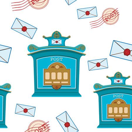 metal mailbox: Vintage post box seamless pattern vector illustration