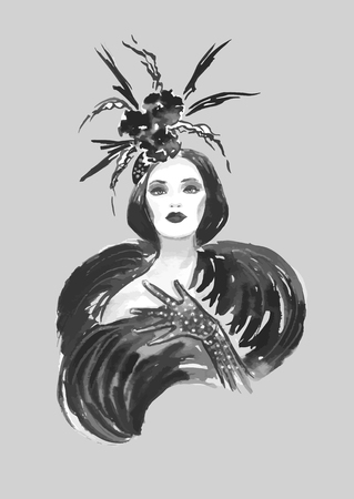 decade: Fashion woman with stylish hat in black and white color Illustration