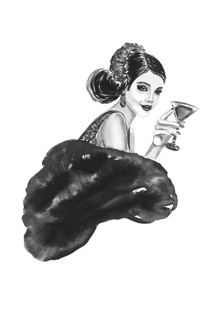 decade: Fashion woman with cocktail  in black and white color Illustration