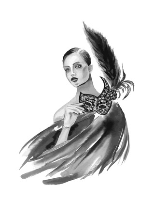 masquerade party: Fashion woman with mask in black and white color