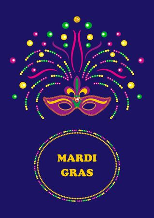 mardi gras: Mardi Gras carnival background  with mask and  beads