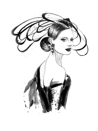 Fashion woman in black and white color