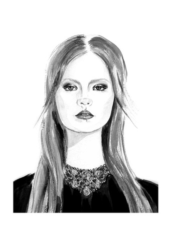 white color: Fashion girl in black and white color