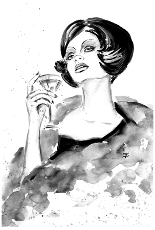 stylish woman: Fashion woman with cocktail in black and white color Illustration