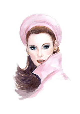 Portrait of beautiful  woman with long hair wearing a beret Illustration