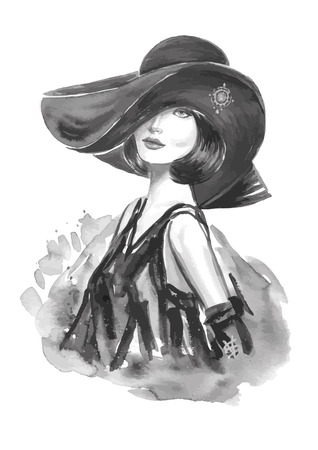 Fashion woman with stylish hat in black and white color 일러스트