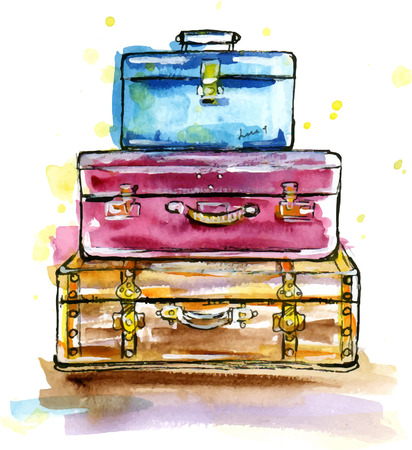 Hand drawn watercolor illustration of Vintage suitcases in sketch style