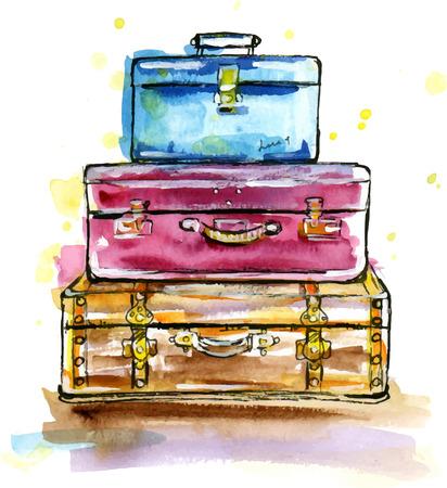 Ručně malovaná akvarel ilustrace Vintage kufrů v náčrtu stylu