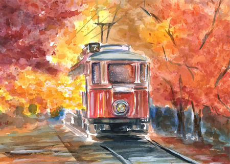 Hand drawn watercolor illustration of old tram in sketch style