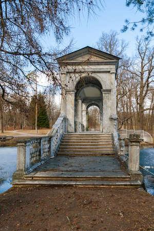 tsarskoye: Marble Bridge in the park Tsarskoye Selo, Russia Stock Photo