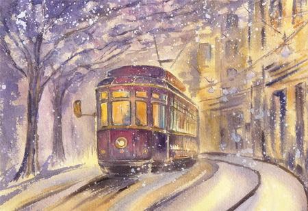 Old tram running along a winter street Illustration