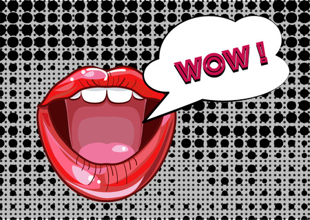 girl mouth: Mouth and speach bubble, Pop Art with grunge background