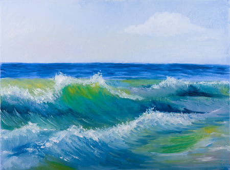 sea wave: Oil painting of the Beautiful sea wave and sky