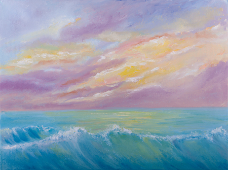 Oil painting of the Beautiful sunset over sea 스톡 콘텐츠