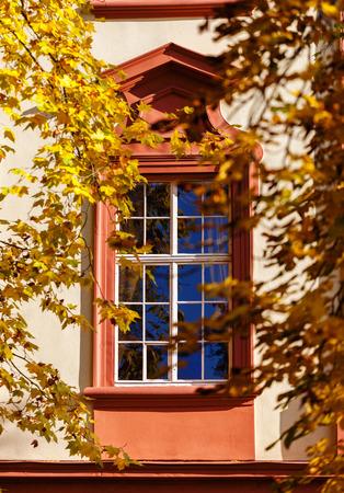 hojas antiguas: Ventana en un palacio viejo enmarcado con hojas de otoño