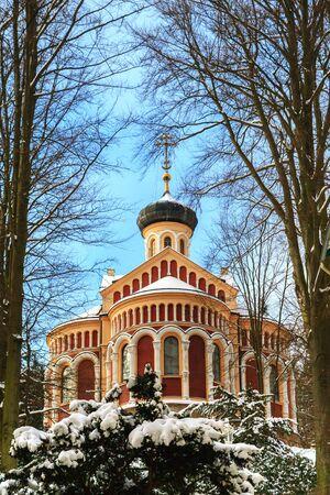 czech republic: Russian church in spa resort Marianske Lazne, Czech Republic Stock Photo