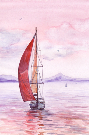 yacht: Watercolor painting of yacht with red sails