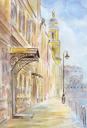Hand drawn watercolor illustration of old town
