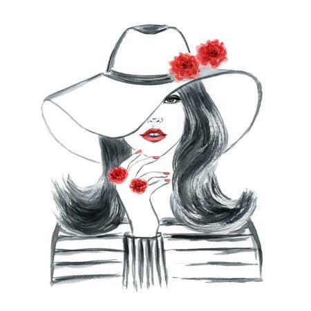 face illustration: Fashion girl with stylish hat Illustration