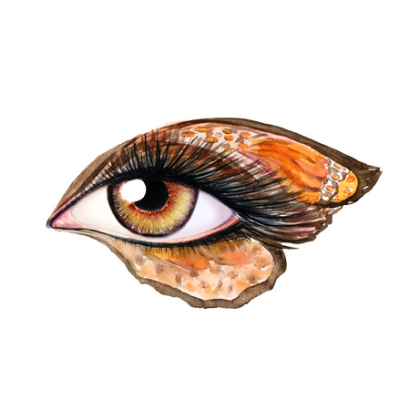 female animal: Eye make up in fantasy style with butterfly