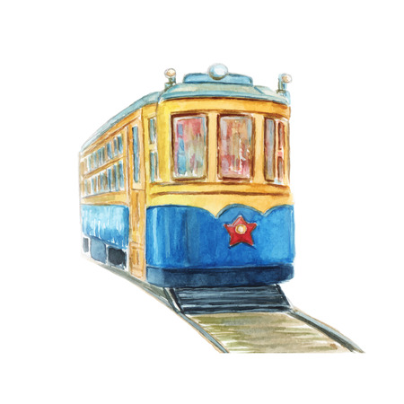 Hand drawn watercolor illustration of old tram