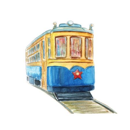 Hand drawn illustration d'aquarelle de vieux tramway
