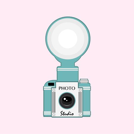 Vintage  camera with flash vector illustration