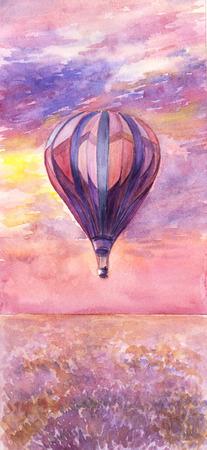 romance sky: Watercolor illustration of hot air balloon