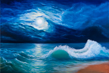 seascape: Oil painting of the moonlight sea landscape Stock Photo