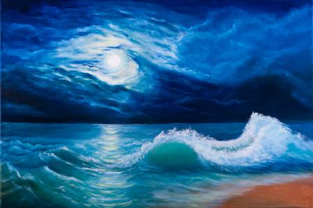 pintura al óleo del paisaje del mar luz de la luna