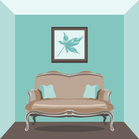 vintage living room: Vector Illustration of vintage living room with sofa