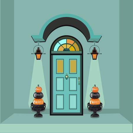 front porch: Autumn decorated front door and porch with pumpkins Illustration