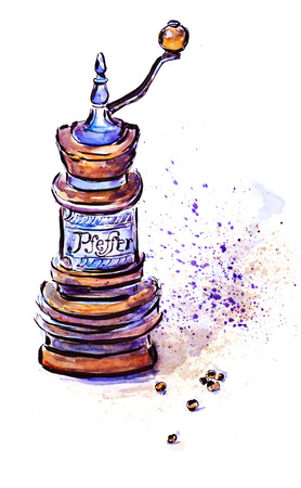 pepperbox: Watercolor illustration of  peperbox mill