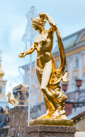 PETERHOF, RUSSIA - OCTOBER 16: Grand Cascade Fountains at Peterhof, Russia, October 16, 2016 in Peterhof, Russia. Former residence of the Russian monarchs. Editorial