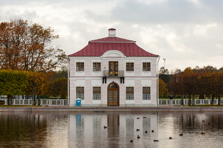 palacio ruso: PETERHOF, RUSSIA - OCTOBER 16: View of the Marly Palace , October 16, 2016 in Peterhof, Russia. Former residence of the Russian monarchs. Editorial