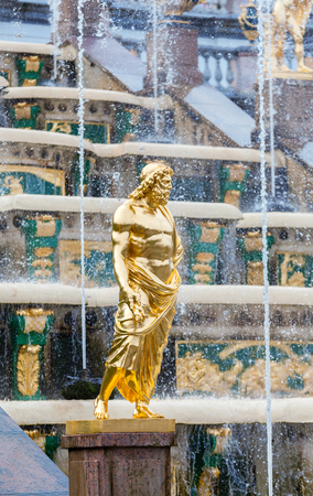 peterhof: PETERHOF, RUSSIA - OCTOBER 16: Grand Cascade Fountains at Peterhof, Russia, October 16, 2016 in Peterhof, Russia. Former residence of the Russian monarchs. Editorial