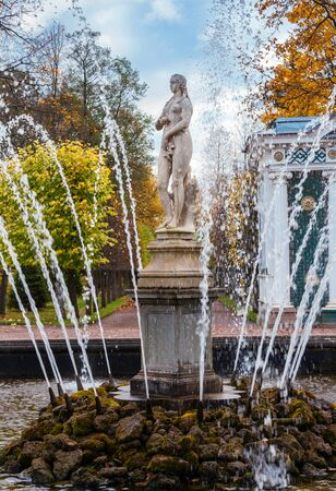 PETERHOF, RUSSIA - OCTOBER 16: Fountain Eva  in the lower park of Peterhof, Russia, October 16, 2016 in Peterhof, Russia. Former residence of the Russian monarchs.