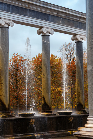 PETERHOF, RUSSIA - OCTOBER 16:  Lion cascade   in Peterhof, Russia, October 16, 2016 in Peterhof, Russia. Former residence of the Russian monarchs. Editorial
