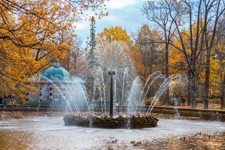 petrodvorets: PETERHOF, RUSSIA - OCTOBER 16: The Sun fountain in lower park  in Peterhof, Russia, October 16, 2016 in Peterhof, Russia. Former residence of the Russian monarchs. Editorial