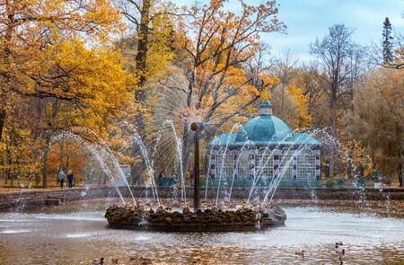 PETERHOF, RUSSIA - OCTOBER 16: The Sun fountain in lower park  in Peterhof, Russia, October 16, 2016 in Peterhof, Russia. Former residence of the Russian monarchs. Editorial